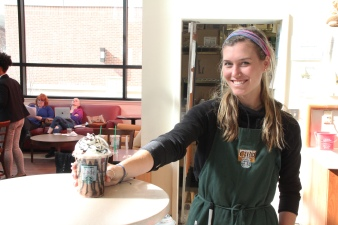 Barnes & Noble employee serving up Frappuccino goodness at the Starbucks on Rowan Blvd. in Glassboro, NJ on March 19, 2018. Photo by Briana M. Andrews.