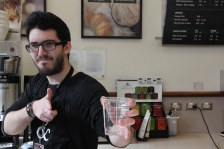 Zachary Dawson strikes a pose as he prepares to take your order at the Rowan Blvd. Starbucks in Glassboro, NJ on March 19, 2018
