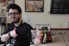 Zachary Dawson strikes a pose as he prepares to take your order at the Rowan Blvd. Starbucks in Glassboro, NJ on March 19, 2018