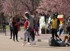 Unnamed street dancers perform in front The White House for tourist audience. Photo by Briana M. Andrews, April 6, 2018.