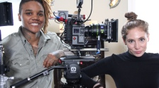 Daughters of Solanas Director Angele Cooper and DP Jodi Savitz posed with sponsored equipment from RED, Zeiss, IDX and Ozen - Photo by Briana M. Andrews - April 5, 2019