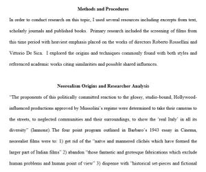 Screen grab of research paper on Neorealism correlations with documentary style film