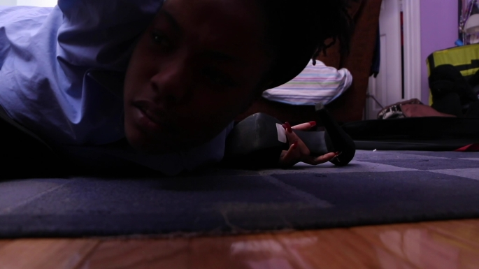 Briana M. Andrews - Actress - Breaking Point Short Film - Action - Looking Under Bed for Shoes