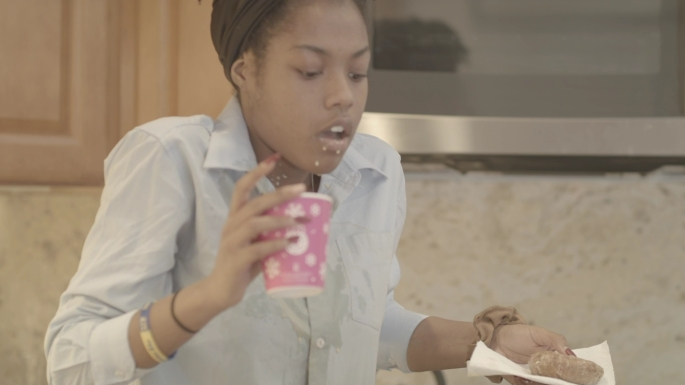 Briana M. Andrews - Actress - Breaking Point Short Film - Action - Spilled Coffee