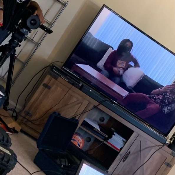 Professional Fluff short film shoot BTS photo with black female filmmakers, Howard University film MFA student - Writer / Director Briana M. Andrews and AC Megan Sims - December 3, 2020