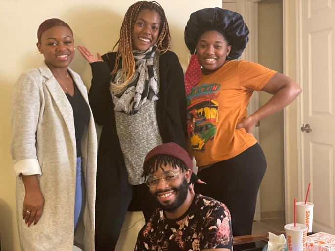 Professional Fluff short film shoot BTS photo with black female filmmakers, Howard University film MFA student - Writer / Director Briana M. Andrews and film actors